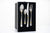 Matte Silver 4-Piece Silverware Set, 304 Stainless Steel Stone Washed