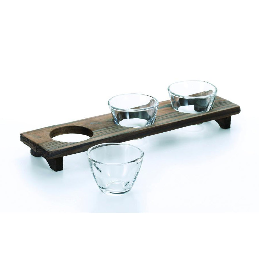 SAMMI-ZAMMAI THREE SAKE CUP WITH WOOD TRAY SET - ASSORTED - ADERIA # S-5408