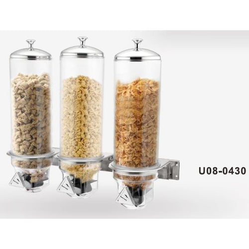 WALL MOUNTED THREE 4L CEREAL DISPENSER - STAINLESS STEEL - SUNNEX # U08-430