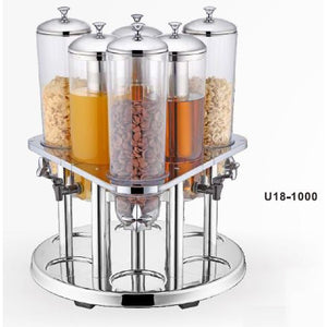 REVOLVING BASE SIX 3L CEREAL DISPENSER - STAINLESS STEEL - SUNNEX # U18-1000