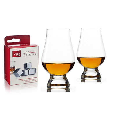 Glencairn Whisky Glasses (2 Pieces) + VacuVin Whiskey Stones