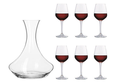 Wine Decanter 1700ml + Wine Glasses 315 ml (6 Pieces)