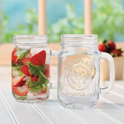LIBBEY COUNTY FAIR GLASS DRINKING JARS (2 PIECES)