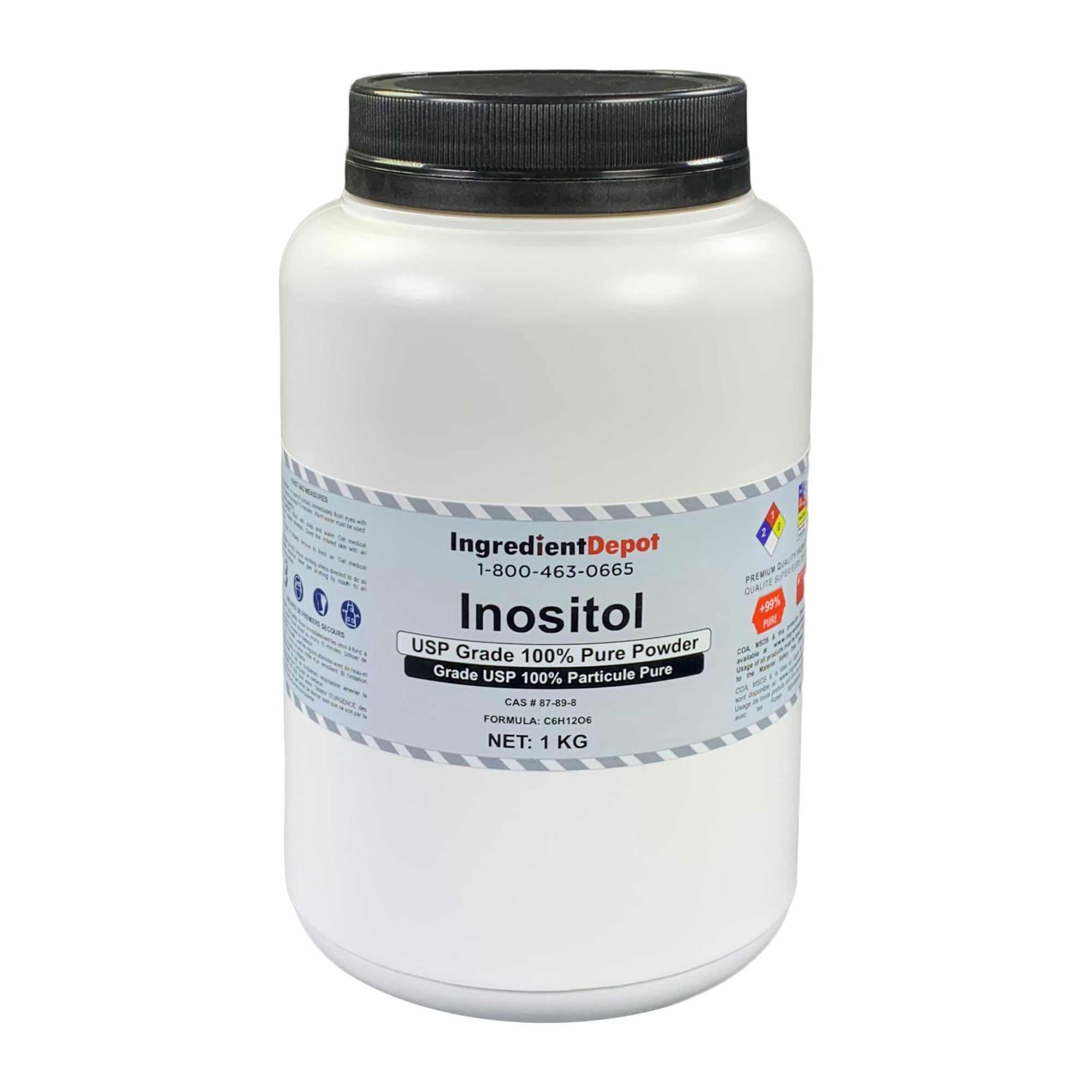 Inositol USP Grade 100% Pure Powder | 1 kg Jar