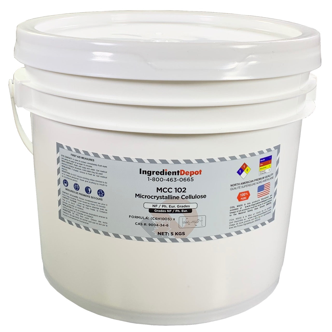MCC 102 Microcrystalline Cellulose (North America) | 5 kgs Pail