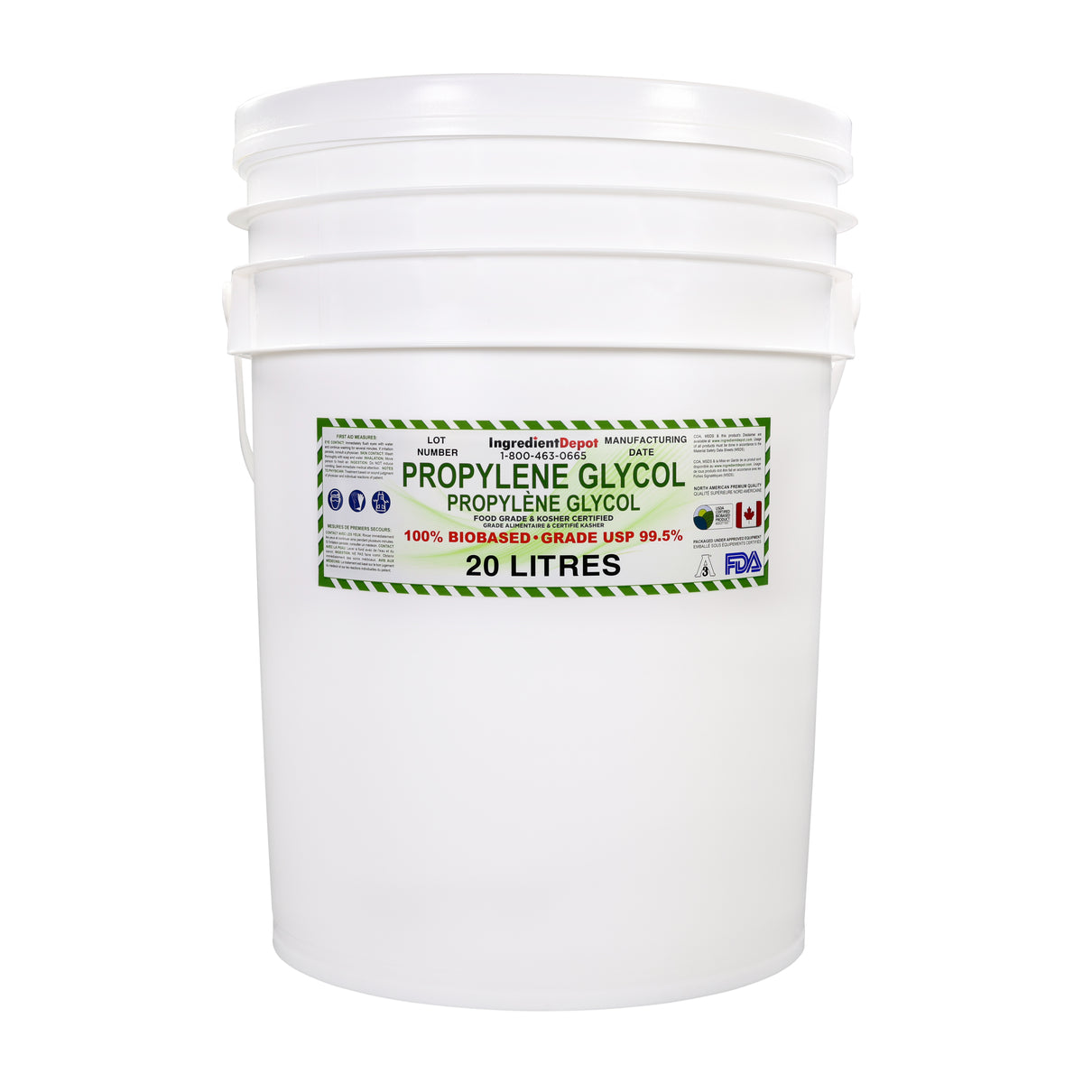 Propylene Glycol North American PG 99.5% USP 100% BIOBASED | 20 litres in a Pail