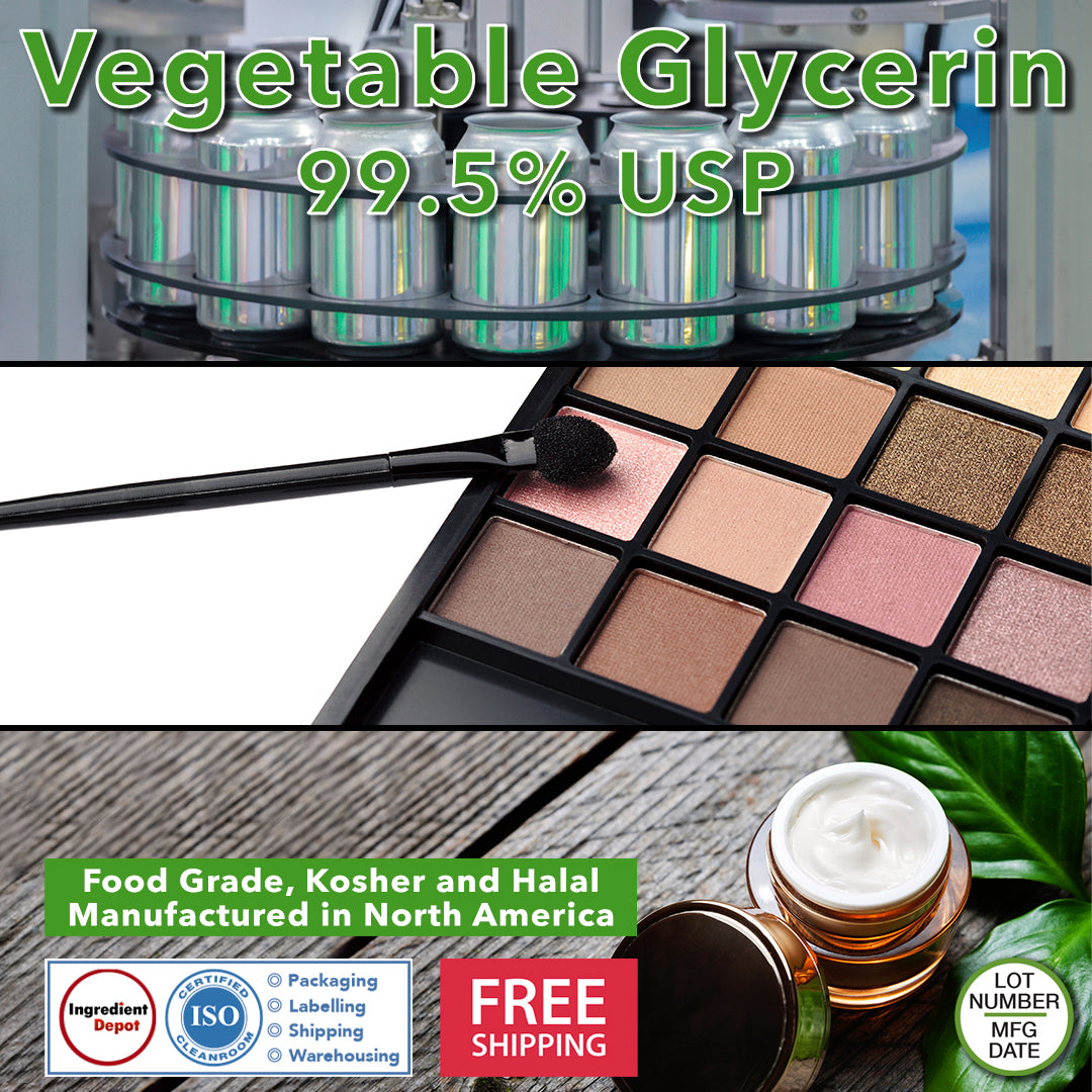 Vegetable Glycerin 99.5% USP (refined) from 100% Vegetable Based Oil, Food Grade, Kosher and Halal from North America