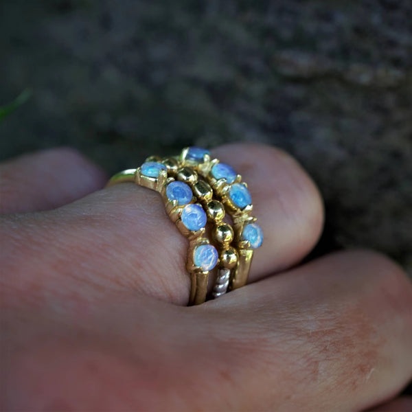 TIGA  Recycled Gold Three Ring Set Ethiopean Opal