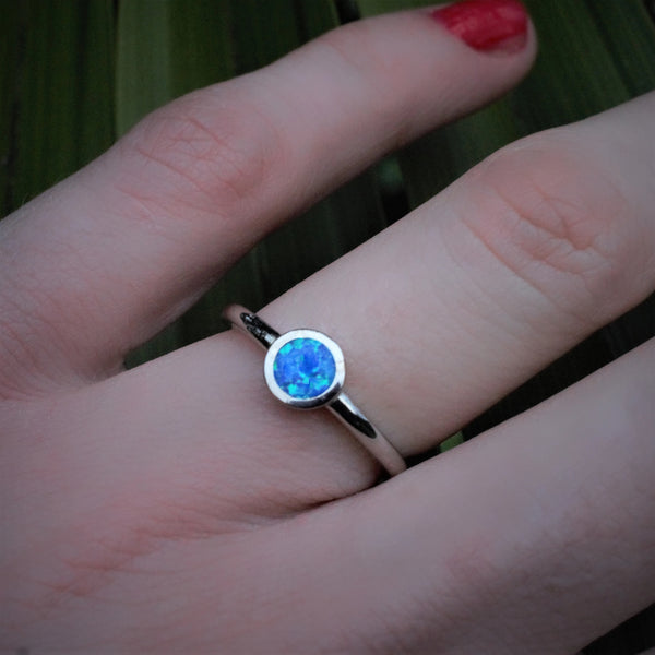 BIRU ring sterling silver blue opal