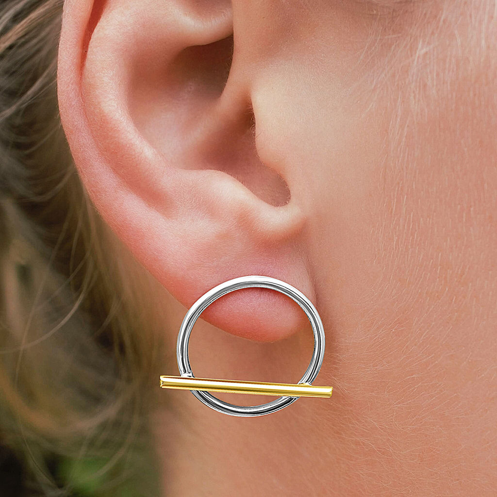 IMA Two-Tone Stud Hoops Recycled Gold and Silver