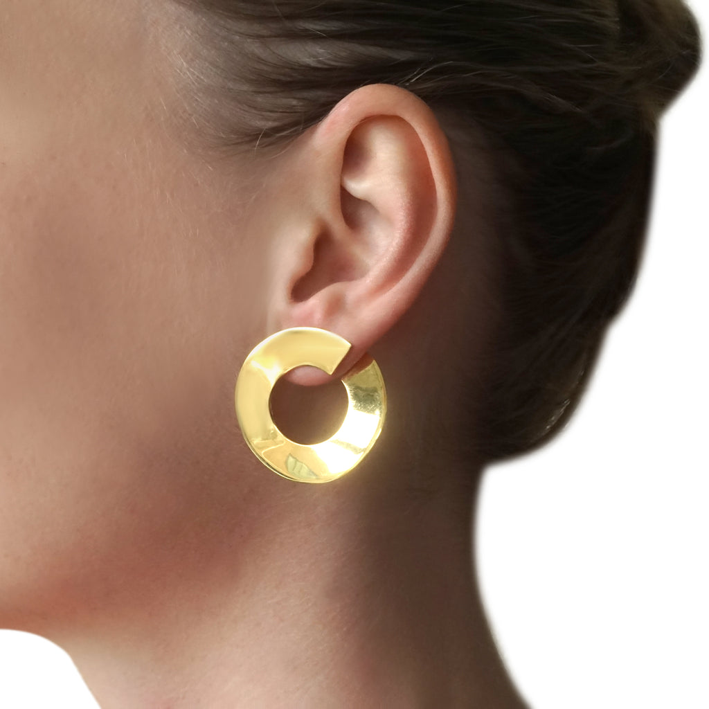 BAGUS Large Offset Earrings Recycled Goldfill