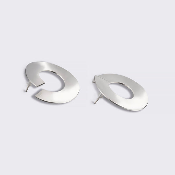 BAGUS Large Offset Earrings Recycled Silver
