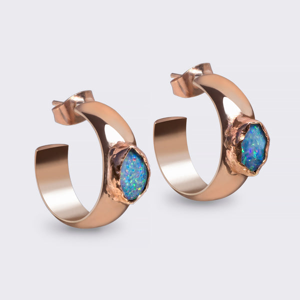 SURYA earrings 18k rosegold filled with genuine Australian Opal
