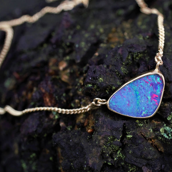 AAHVA Gold Australian Boulder Opal Necklace