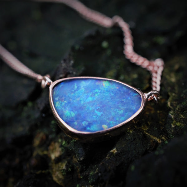 AAHVA Recycled Rosegold Australian Opal Necklace