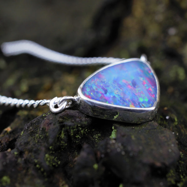 AAHVA Recycled Silver Australian Opal Necklace