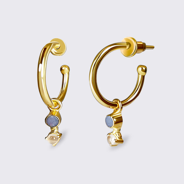 UMA gold opal & moonstone earrings