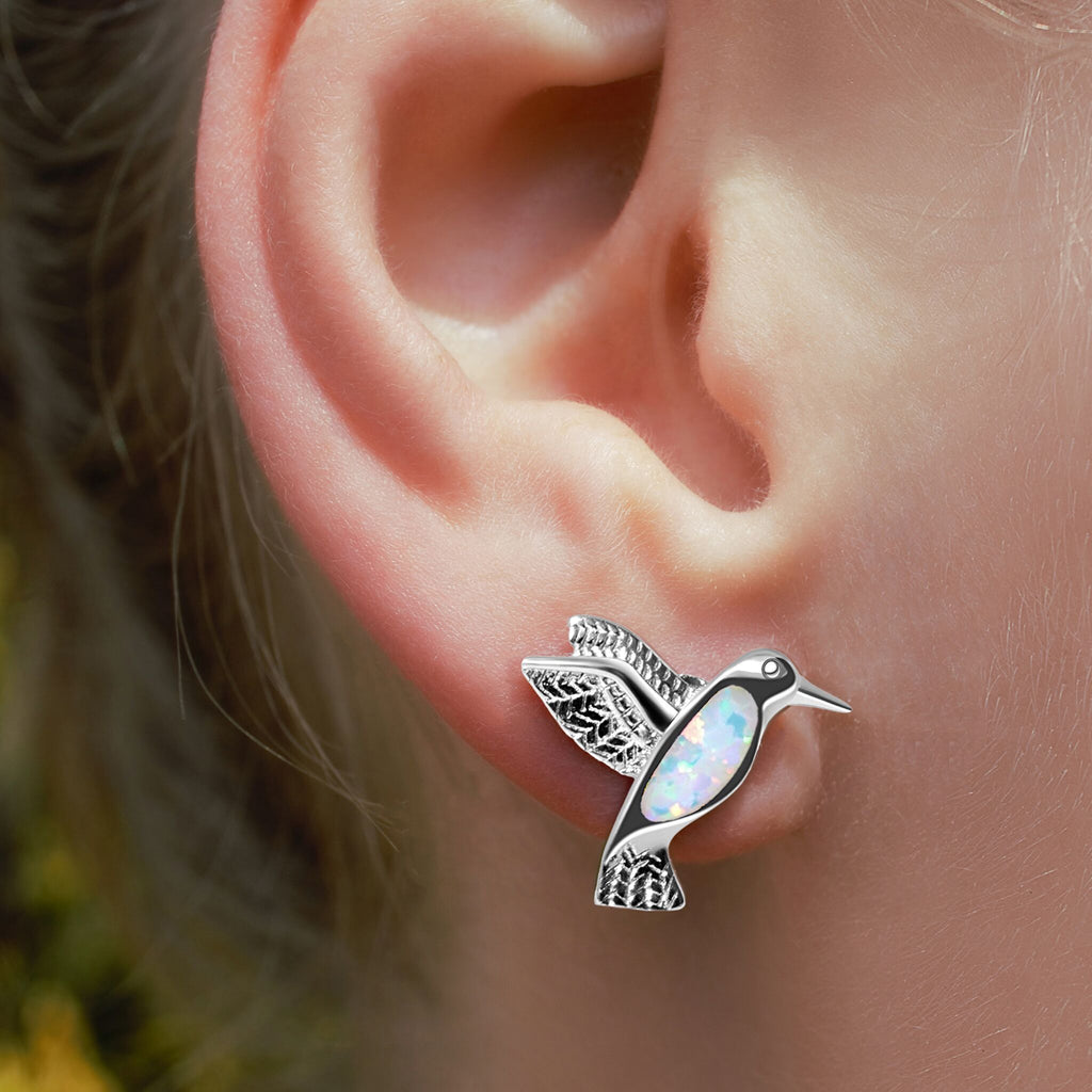 HUMMINGBIRDS Recycled Sterling Silver White Opal