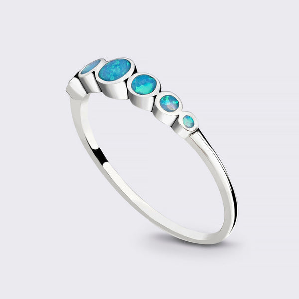 Sterling Silver 7 Stone Opal Ring