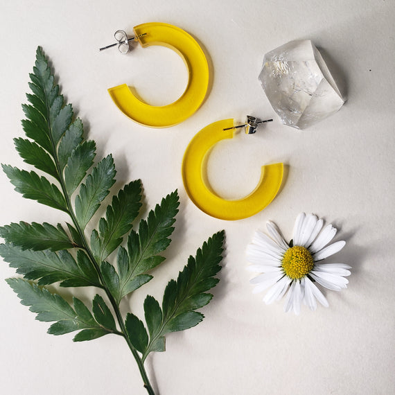 Yellow Clear Acrylic Hoops