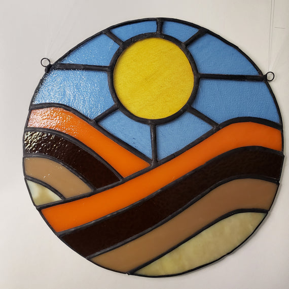 70s Sunset Over Rolling Hills Stained Glass