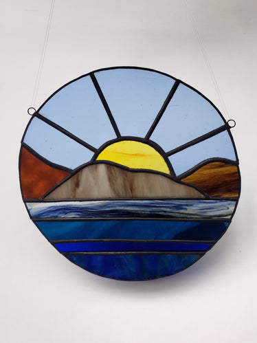 Blue Sunset Over Water Stained Glass