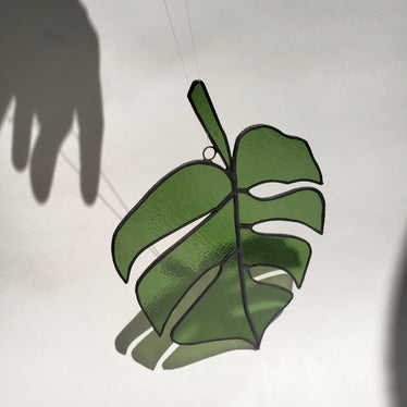 monstera leaf stained glass