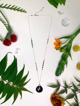 Black Onyx Drop Bead Sequin Chain Necklace