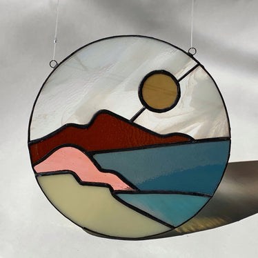 Art Deco Lake Stained Glass