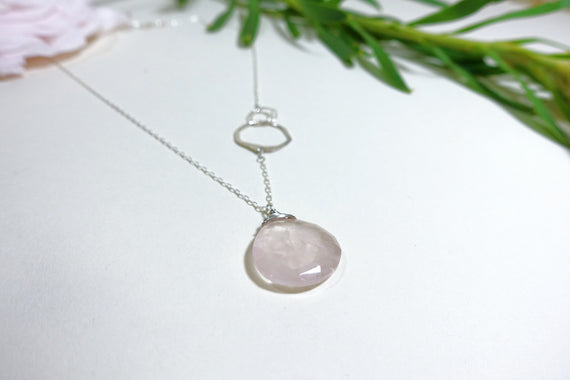 Rose Quartz Organic Link Necklace
