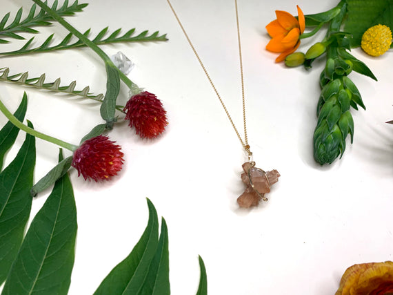 Raw Aragonite Mineral Necklace