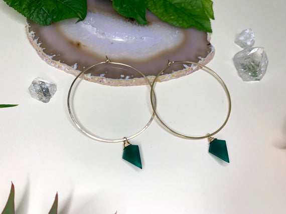 Round Hoops with Removable Green Onyx Charm