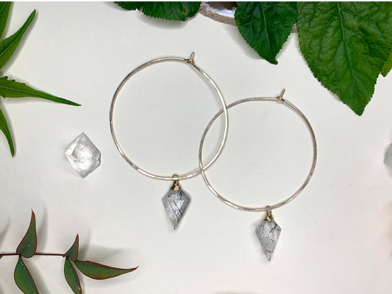 Round Hoops with Removable Tourmolinated Quartz Charm