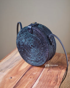 Plain Black Handwoven Round Rattan Bag Bali (SERANG BAG)