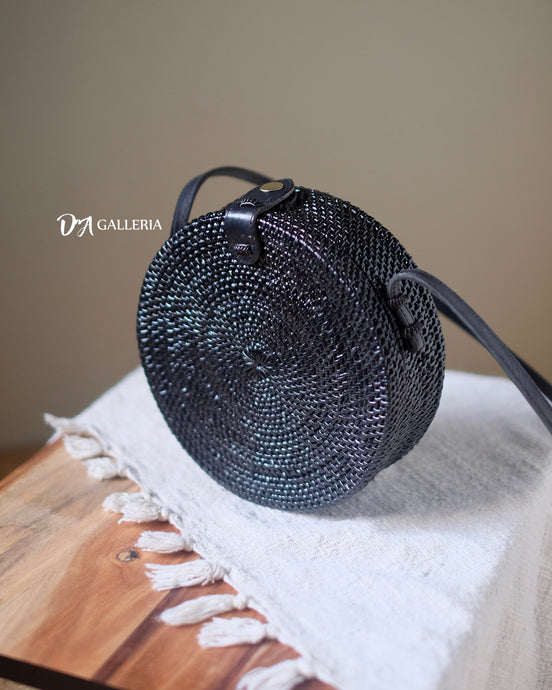 Plain Black Handwoven Round Rattan Bag Bali (HR00025)