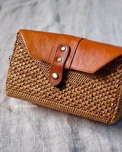 Rectangle Handwoven Rattan Bag with Leather (HR00021)