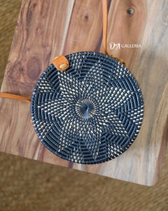 Black Flower Round Rattan Bag Bali (MEDAN BAG)