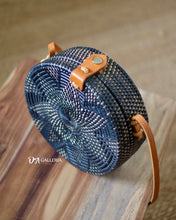 Load image into Gallery viewer, Black Flower Round Rattan Bag Bali (HR00007)