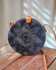 Black Flower Round Rattan Bag Bali (HR00007)