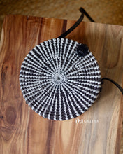 Load image into Gallery viewer, Black White Handwoven Round Rattan Bag Bali (SIBOLGA BAG)