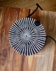 Black White Handwoven Round Rattan Bag Bali (SIBOLGA BAG)