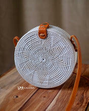 Load image into Gallery viewer, White Flower Handwoven Round Rattan Bag Bali (BANDUNG BAG)