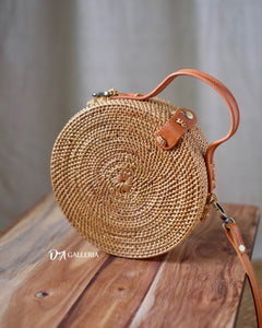 Rattan Bag with Leather Handle (HR00029)