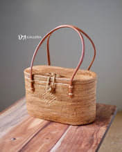 Load image into Gallery viewer, Cylinder Rattan Tote Bag Bali (HR00038)