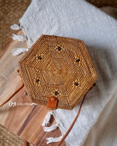 Hexagon Handwoven Rattan Bag Bali (HR00012)