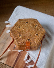 Load image into Gallery viewer, Hexagon Handwoven Rattan Bag Bali (HR00012)