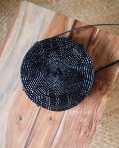 Black Flower Rattan Bag Bali (LUBUKLINGGAU BAG)