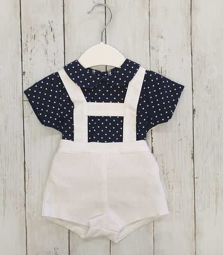Spanish H-Bar Shorts And Navy Polka Dot Shirt Set