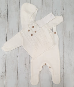Two Piece White Knitted Jacket And Dungaree Set