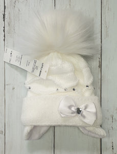 Diamantè Faux Fur Pom Hats